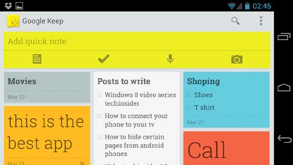 Keep notes with Google Keep app