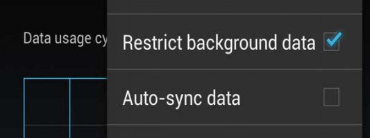 Restrict background data on a Android 4.2 device